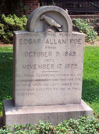 When Poe was originally buried in 1849, he was placed in an unmarked grave. Over the years, the site became overgrown with weeds. Reports of Poe's anonymous and unkempt grave began to circulate, first privately then in the newspapers. The new monument was dedicated on November 17, 1875. Then, there was some confusion about the original burial site...