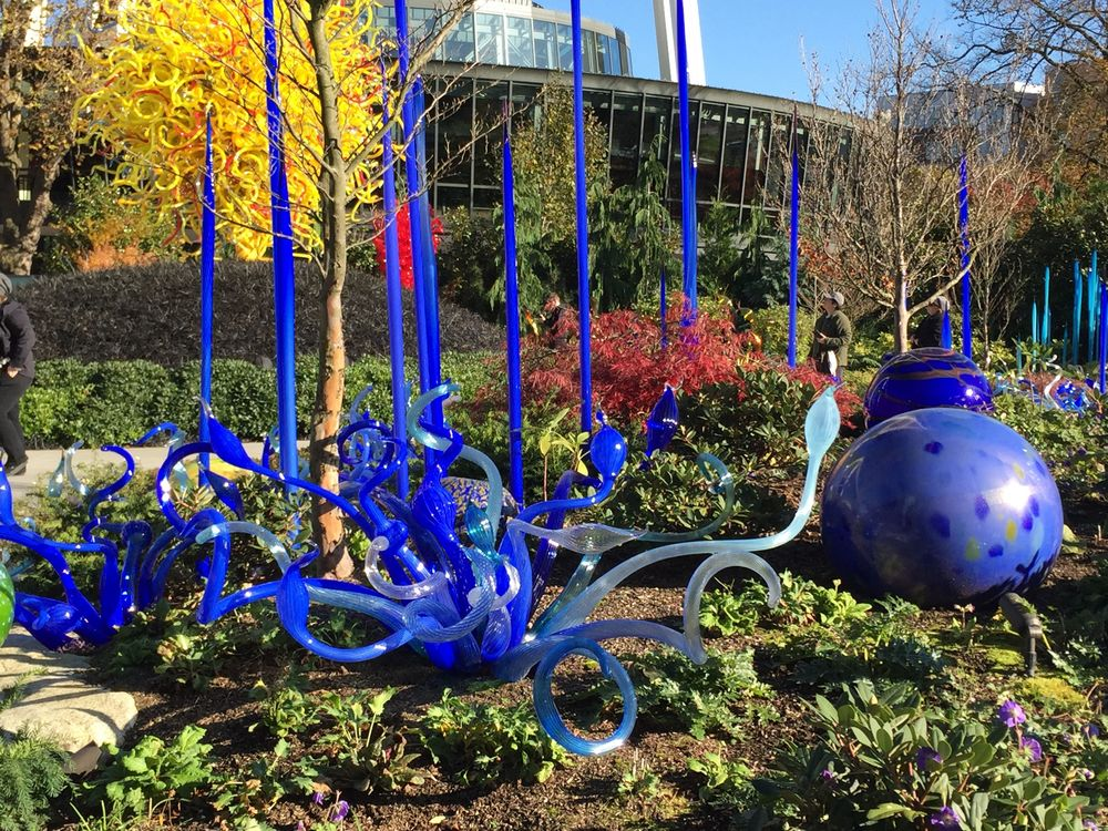 Outside at the Chihuly Glass Gardens in Seattle, WA.