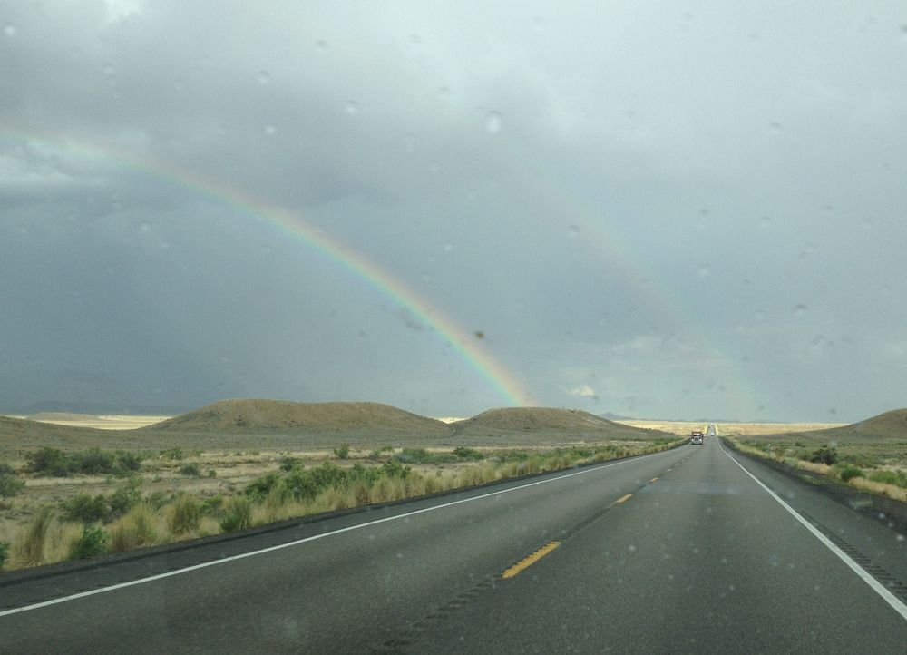 Seriously, I saw lots of rainbows during the summer craft show travel stint. Above is a double rainbow, the second one is faint but if you look for it, it's really there. This was on a cut through road from I-15 below Salt Lake City to I-70 towards Colorado.