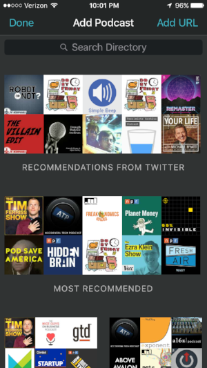 The discover section of Overcast.