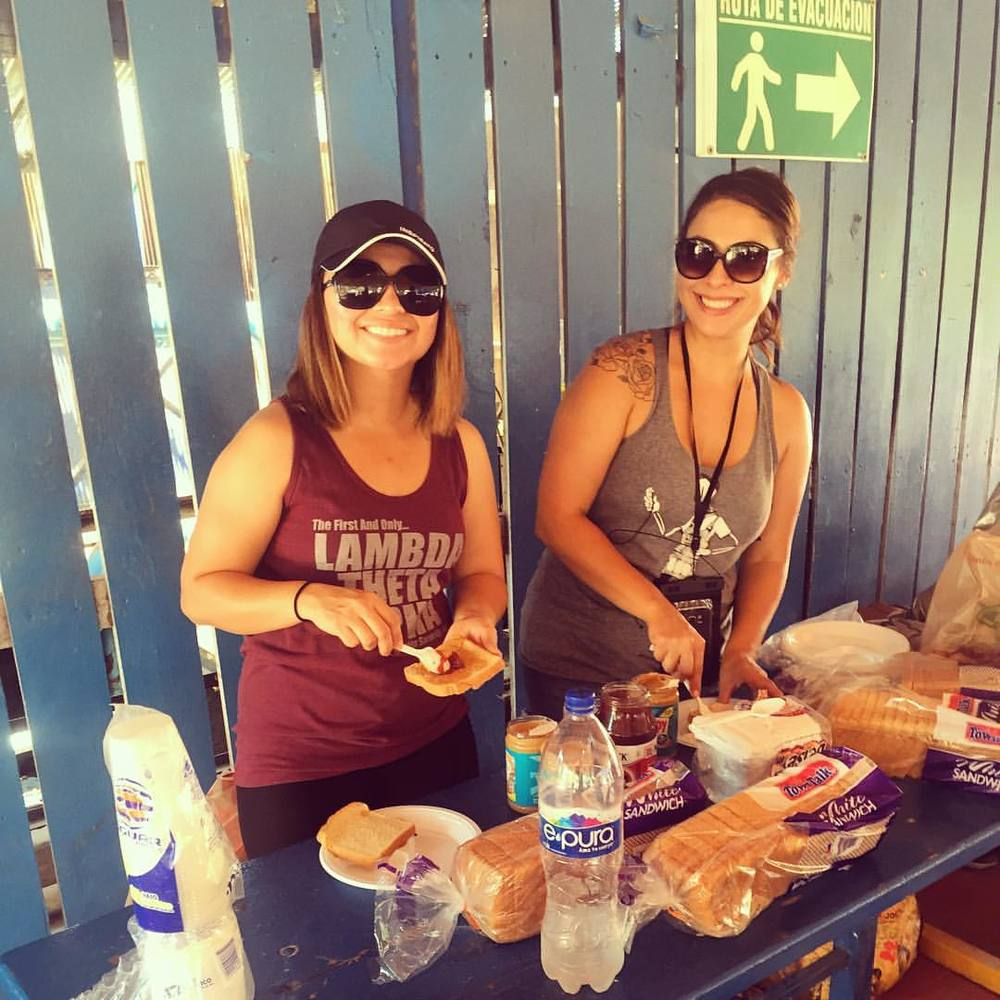 Jen and Stacy making lunch for the kids!