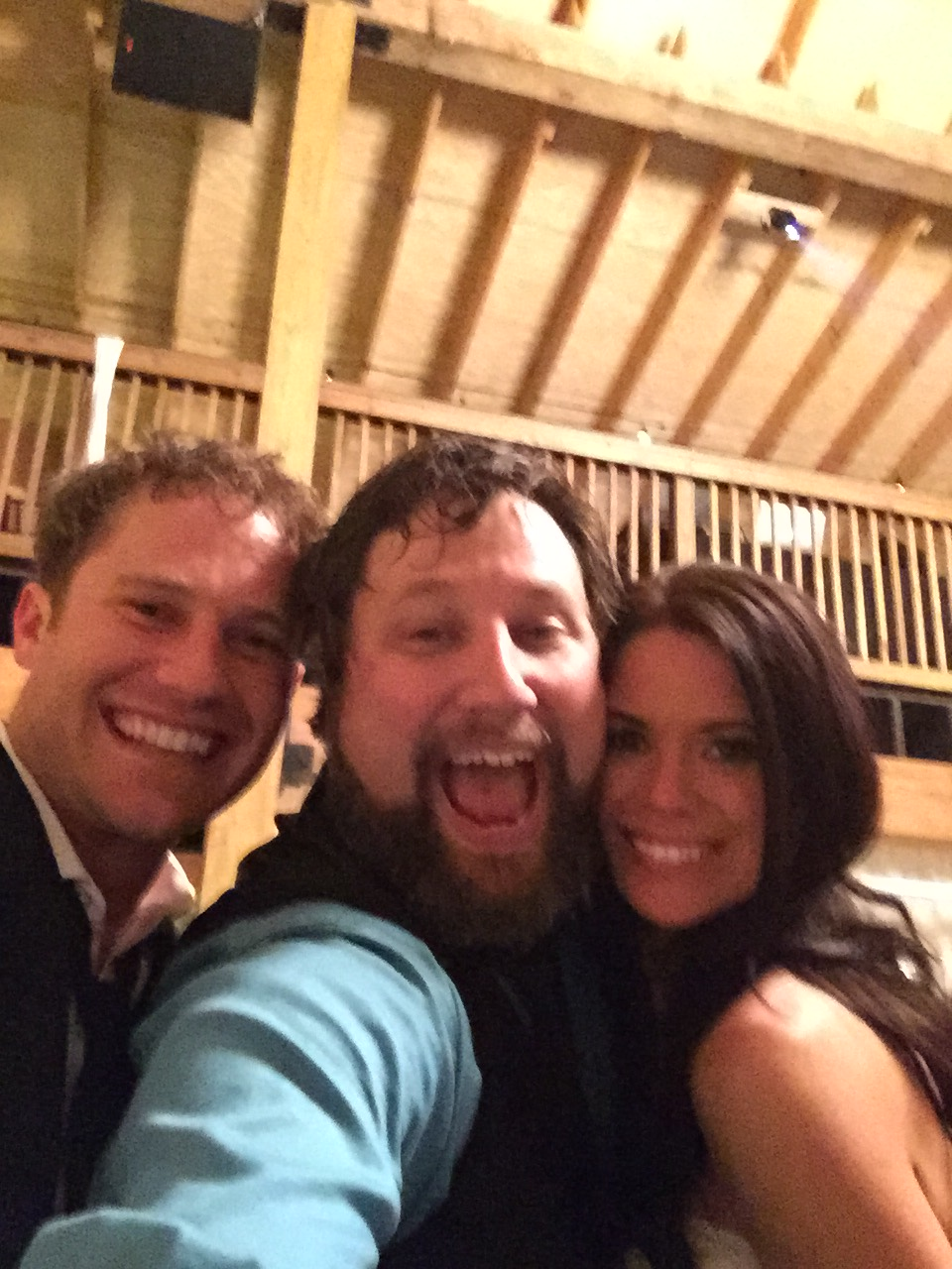Burton, Brad, and Rebecca dance floor selfie.