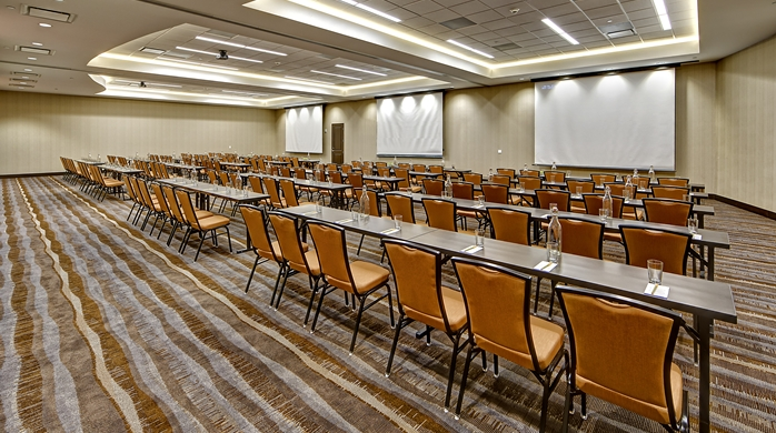 The options are endless on how to liven up this conference space!