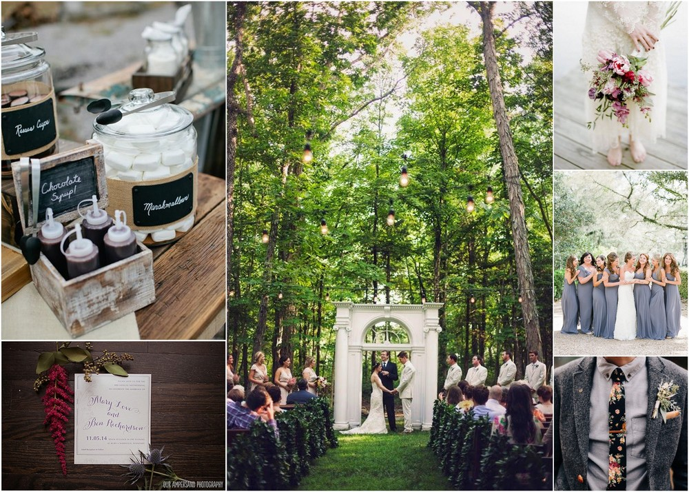 Photo credit: (TL) Kristyn Hogan; (BL) Our Ampersand Photography; (Center) Krista Lee Photography; (TR) Jenna Henderson Photography; (Middle)Southern Weddings Magazine; (BR) Green Wedding Shoes
