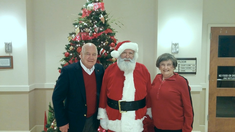 Mayor Alexander, Santa Claus, and Ms. Janice Green.