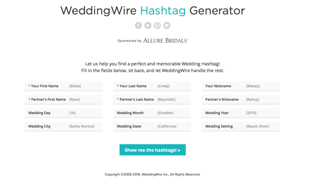 WeddingWire Wedding Hashtag Generator