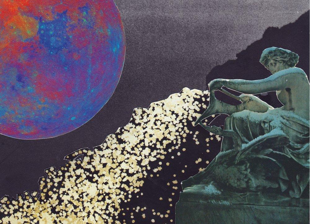 New Moon in Aquarius. Analog Collage, 2017