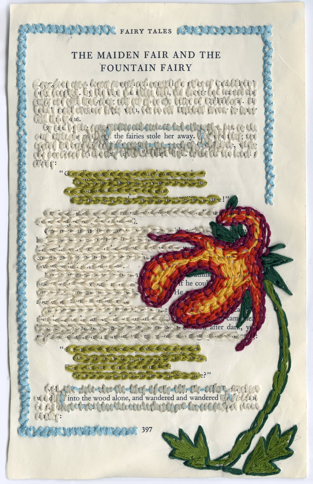 """The Wanderer"" Encyclopedia of Fairy Tales in the English Language, Embroidery Thread, 2014"