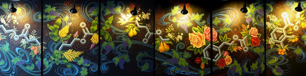 Wine Esters Mural copyright 2018. Gabrielle Abbott.   10 'x 30' Acrylic and on wood panel