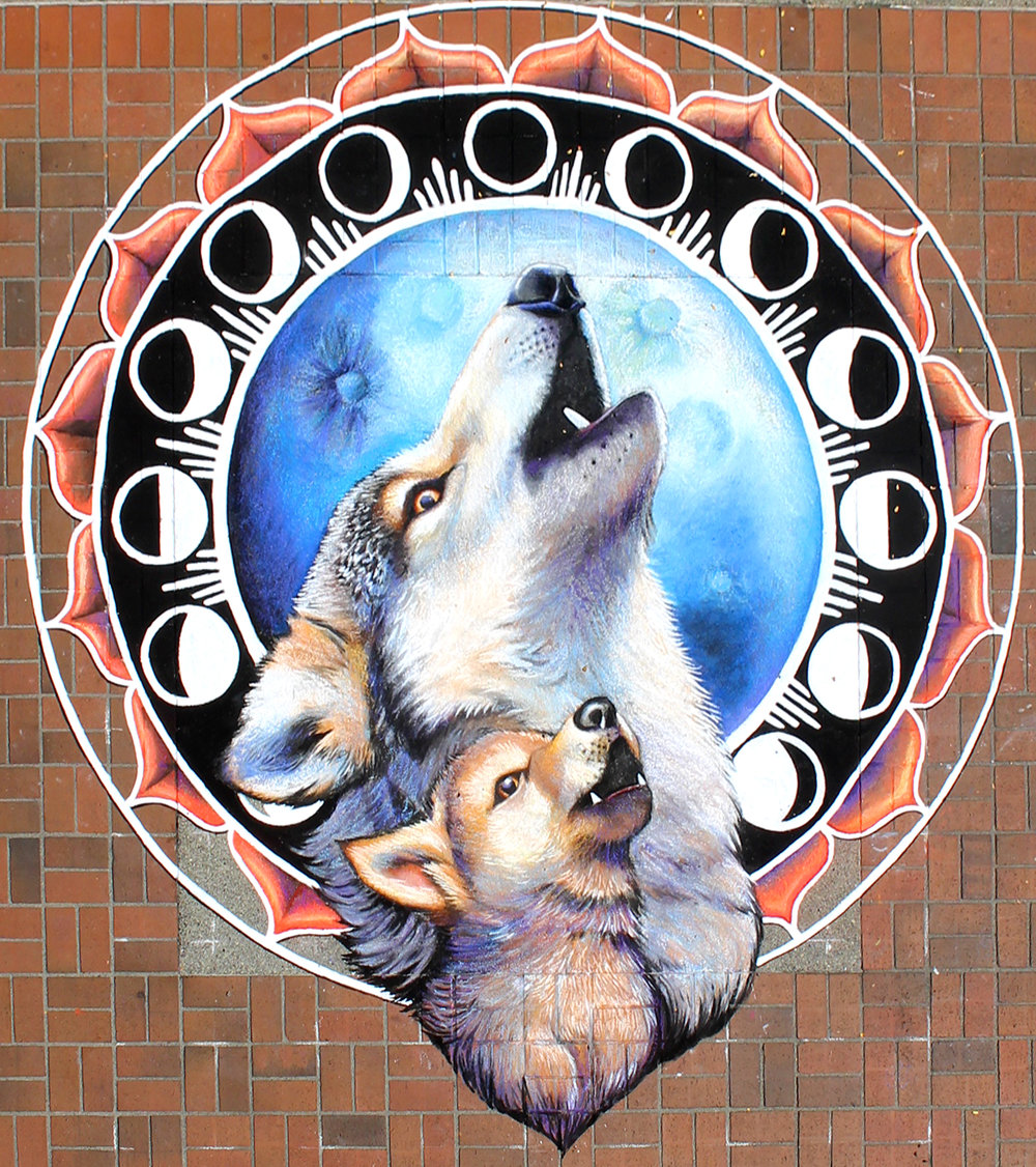 """LEARNING TO HOWL,"" 10' X 10' CHALK MURAL, BELLEVUE ARTSFAIR, WA 2018"