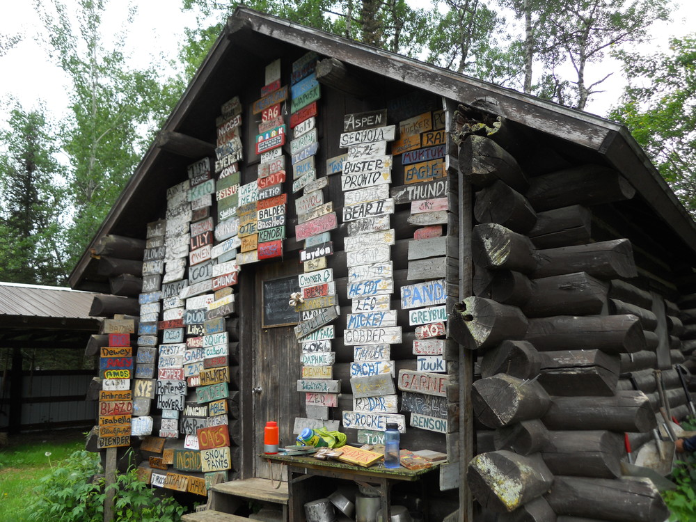 The names of previous dogs in the Dog Yard. I absolutely Love the look of this cabin....