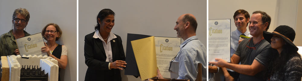 Brooklyn Deputy Borough President Diana Reyna presents citations at R-951 on August 5 2015 to (from left) Further, Inc's Ray Sage and Wendy Brawer, Paul Castrucci Architect, and to AeonSolar's Rob Ashmore and Angelica Ramdhari