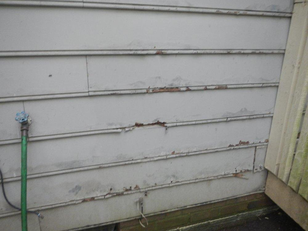 Water damaged siding