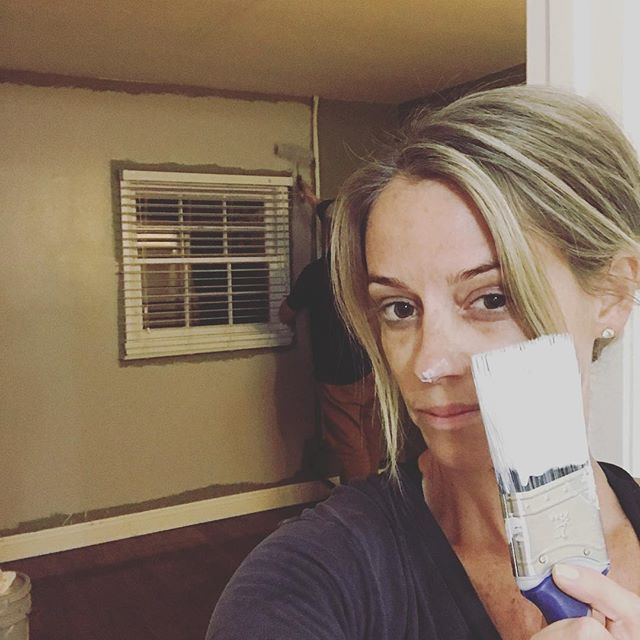 Painting my new house and let me be completely honest, this one was one hundred percent paid for by 8 seasons of TV and I owe it all to my crew and all of you --I didn't get here on my own and I never forget that (leif is rolling -I'm cutting in and of course, getting distracted) . #nevergiveup #hgtv #rehabaddict #newbeginnings