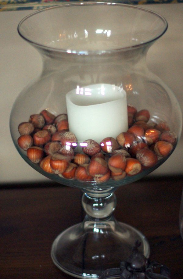 Hazelnuts purchased at the grocery for under $5 make an easy vase filler.