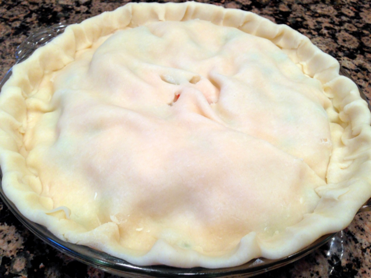 Be sure to cut slits in the top of the crust to allow the steam to vent while baking.