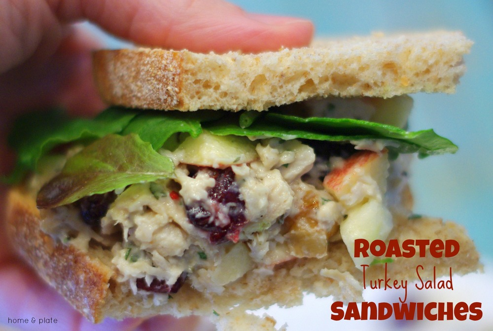 Roasted Turkey Salad Sandwiches | Home & Plate | Pair this leftover turkey with crunchy walnuts, sweet honeycrisp apples, and tangy dried cranberries.
