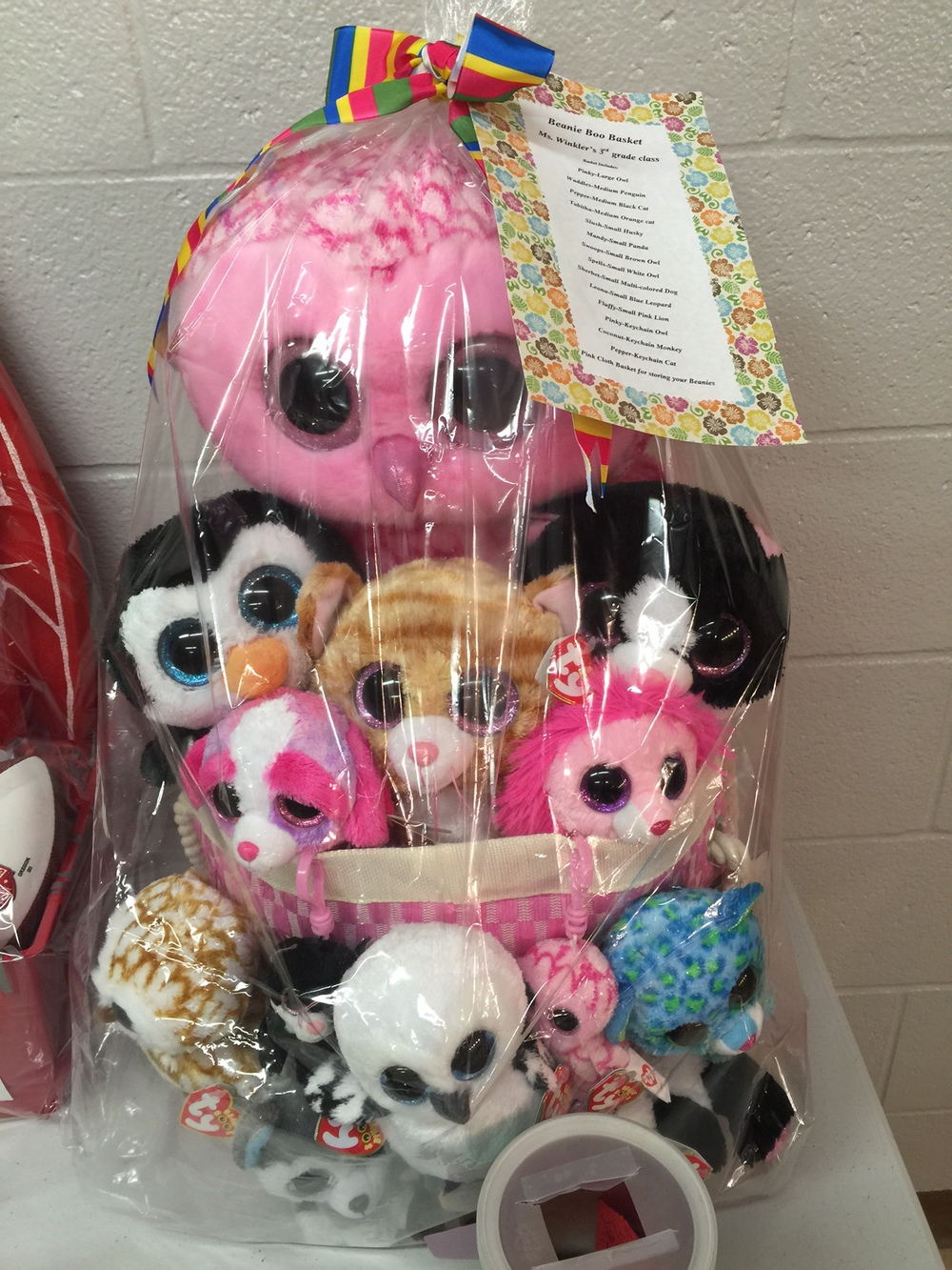 Theme basket filled with Beanie Boos. So many I can't count them!