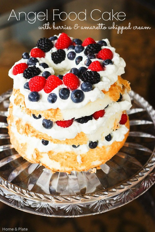 Angel food cake with berries amaretto whipped cream home plate angel food cake with berries amp amaretto whipped cream home amp plate forumfinder Images