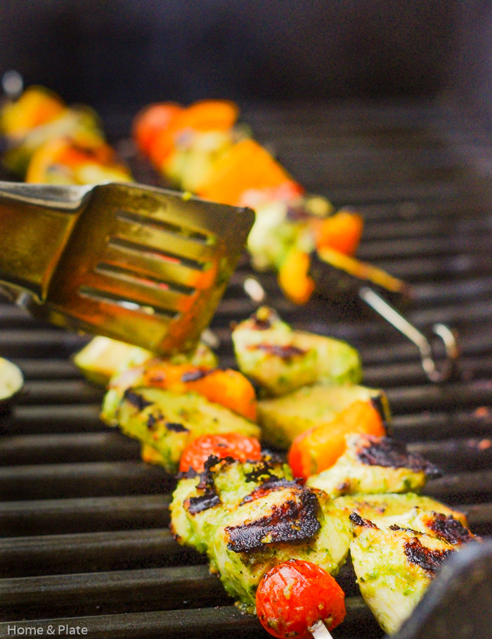 Basil Pesto Chicken Kebabs | Home & Plate | www.homeandplate.com | Basil. Pine nuts. Olive oil. Parmesan. Add it to chicken. Basil Pesto Chicken Kebabs are served!