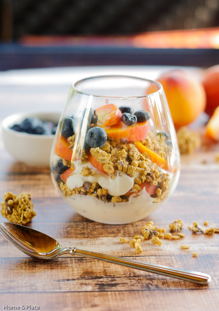 Granola Parfaits with Peaches & Blueberries — Home & Plate - Fresh ...