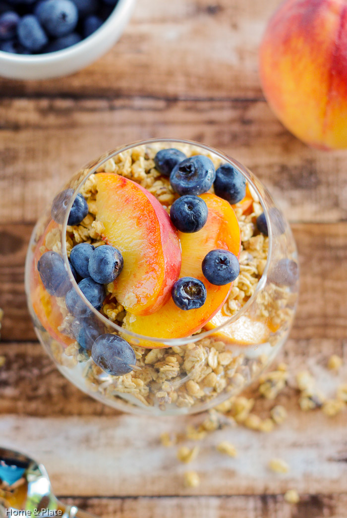 Granola Parfaits with Peaches & Blueberries — Home & Plate ...