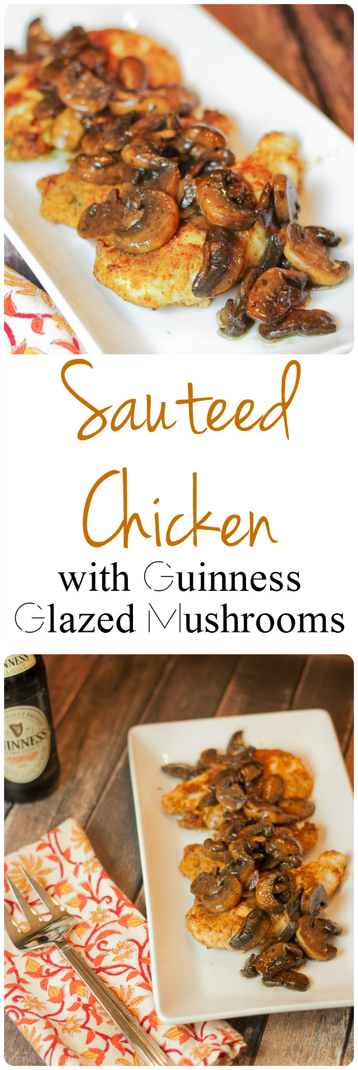 Sauteed Chicken with Guinness Glazed Mushrooms | Home & Plate | www.homeandplate.com | Sauteed chicken with beer soaked button mushrooms can be made up in 30 minutes for a quick meal.
