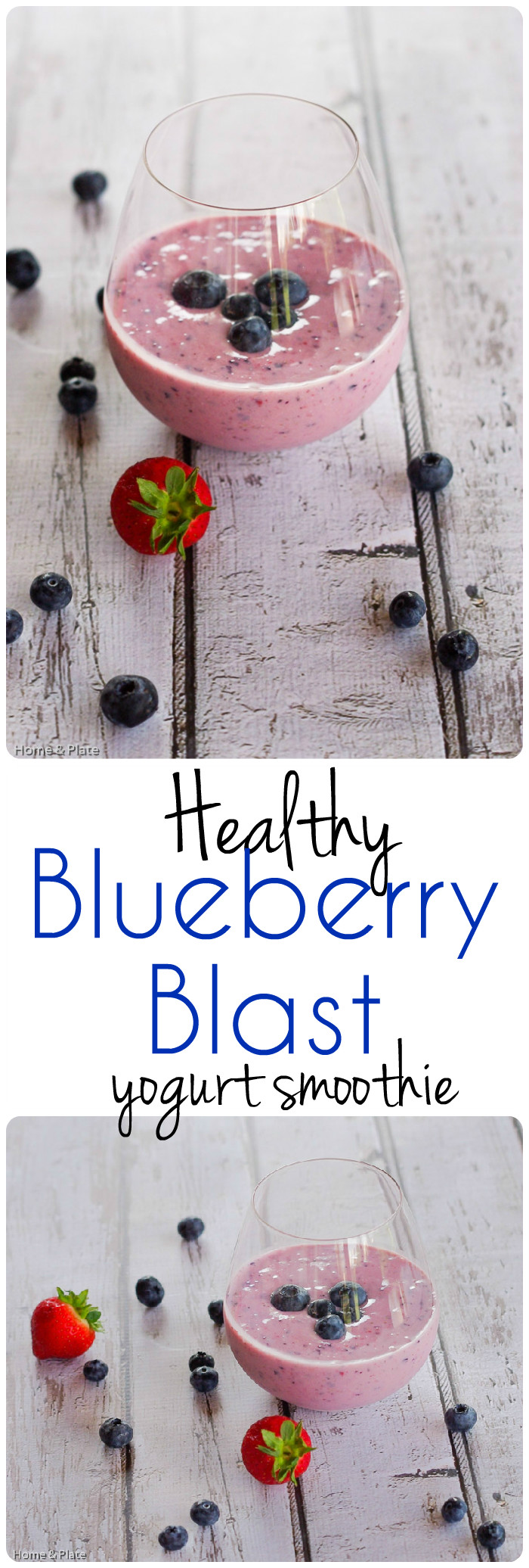 Healthy Blueberry Blast Yogurt Smoothie | Home & Plate | www.homeandplate.com | This smoothie recipe is perfect for busy mornings.