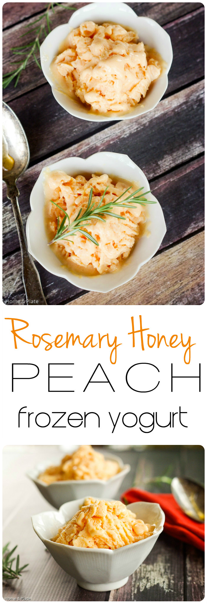 Rosemary Honey Peach Frozen Yogurt | Home & Plate | www.homeandplate.com | Rosemary and honey come together in this peach frozen yogurt dessert.