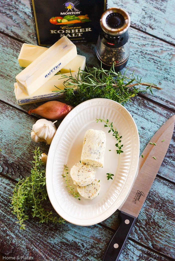 Compound Butter with Garlic, Shallots & Herbs | Home & Plate | www.homeandplate.com | The perfect topper for steaks, chicken and fish. Makes a thoughtful homemade holiday gift.