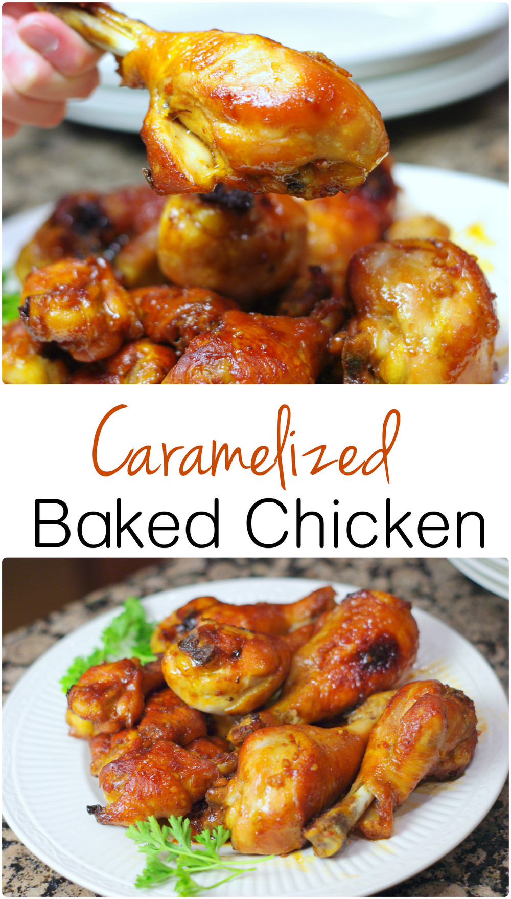 Caramelized Baked Chicken | Home & Plate | www.homeandplate.com | These chicken wings and legs have a sweet and sticky flavor that is just delicious.