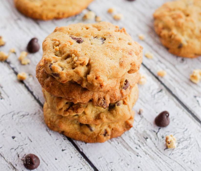 Crispy Granola Cluster Cookies | www.homeandplate.com | Sneak a little something healthy into the next batch of chocolate chip cookies you make.