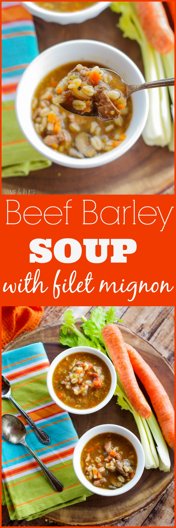 Leftover prime filet mignon from a tenderloin dinner is transformed into a hearty and rich beef barley soup that is steakhouse worthy.