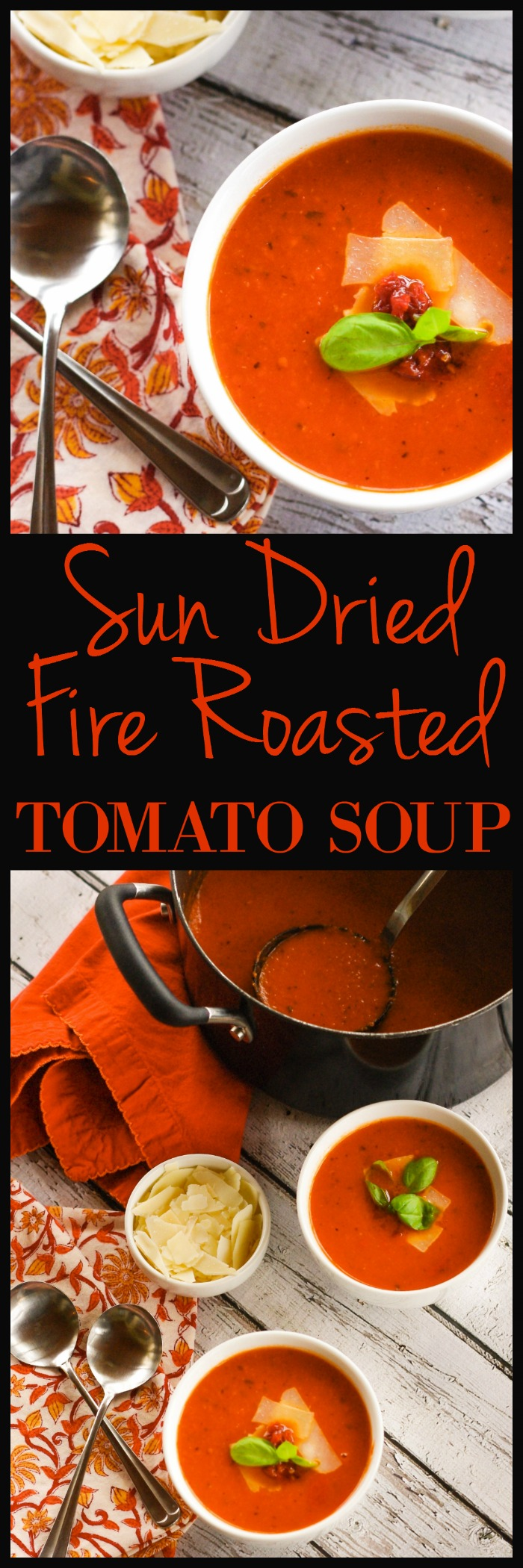 Sun Dried Fire Roasted Tomato Soup | www.homeandplate.com | Each spoonful is bursting with the sweet and tart flavor of fresh tomatoes, the intense taste of the fruit sun dried at the height of ripeness and the salty smoky flavor of the bacon. #YesYouCAN #ad
