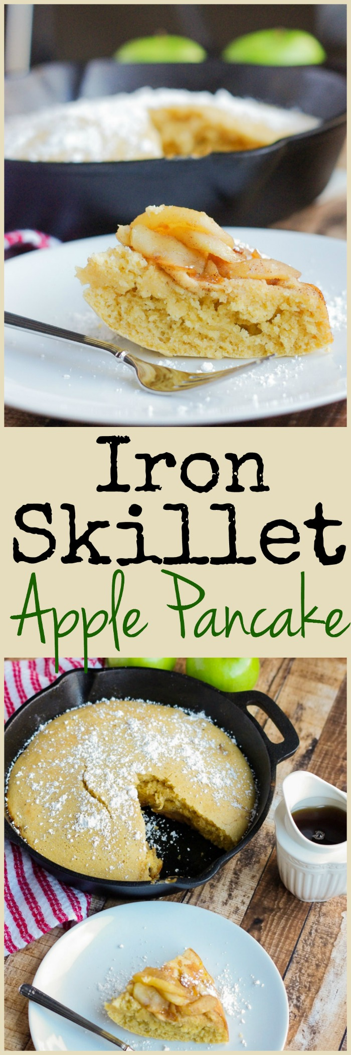 Easy Iron Skillet Apple Pancake | www.homeandplate.com | With this sweet and moist apple skillet pancake they'll be no more waiting to flip the flap jacks.