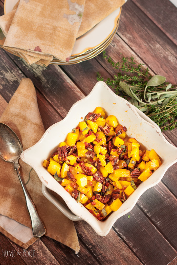 Maple Cayenne Butternut Squash with Pancetta & Pecans | www.homeandplate.com | This maple butternut squash has a kick of cayenne and is paired with the crunch of toasted pecans and salty pancetta.
