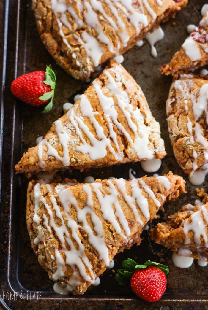 Whole-Wheat Strawberry Ricotta Scones with a Lemon Glaze # ...