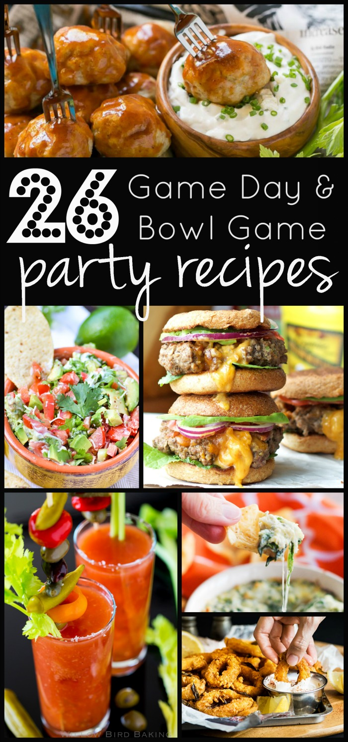26 Game Day & Bowl Game Party Recipes | www.homeandplate.com | Choose from delicious drinks, appetizers, finger foods and game day grub when planning your game day party.