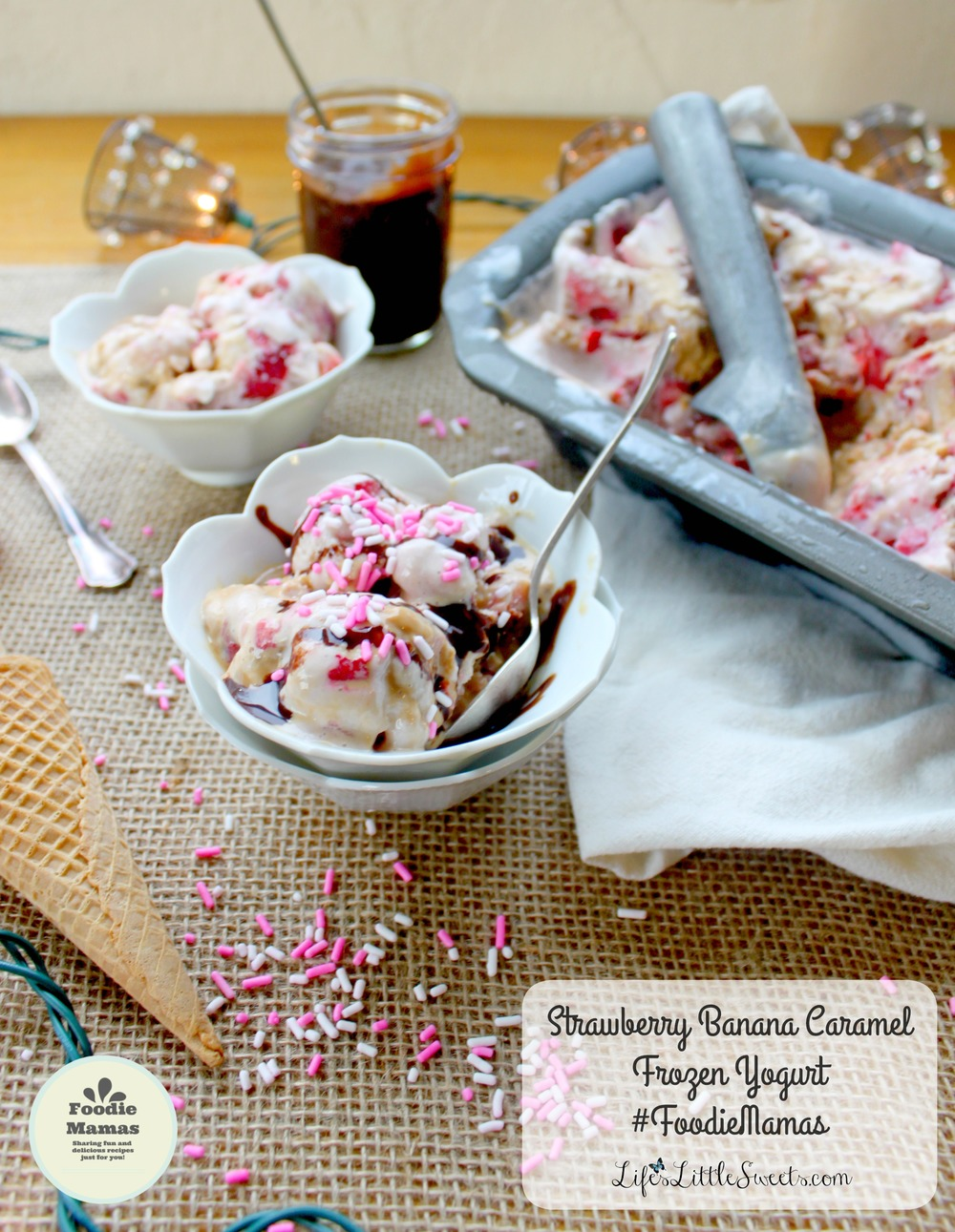 Strawberry Banana Caramel Frozen Yogurt