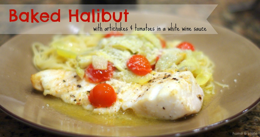 Baked Halibut with Artichokes & Tomatoes in a White Wine Sauce | www.homeandplate.com | Fresh tomatoes and artichoke hearts cooked in a lemony white wine sauce makes for a tangy partner to this firm, low-fat white fish.