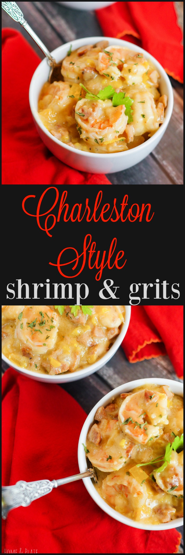 Charleston Style Shrimp & Grits | www.homeandplate.com | The shrimp is pink and tender, the course grits are creamy and cheesy and the heat from the andouille sausage will warm your belly.