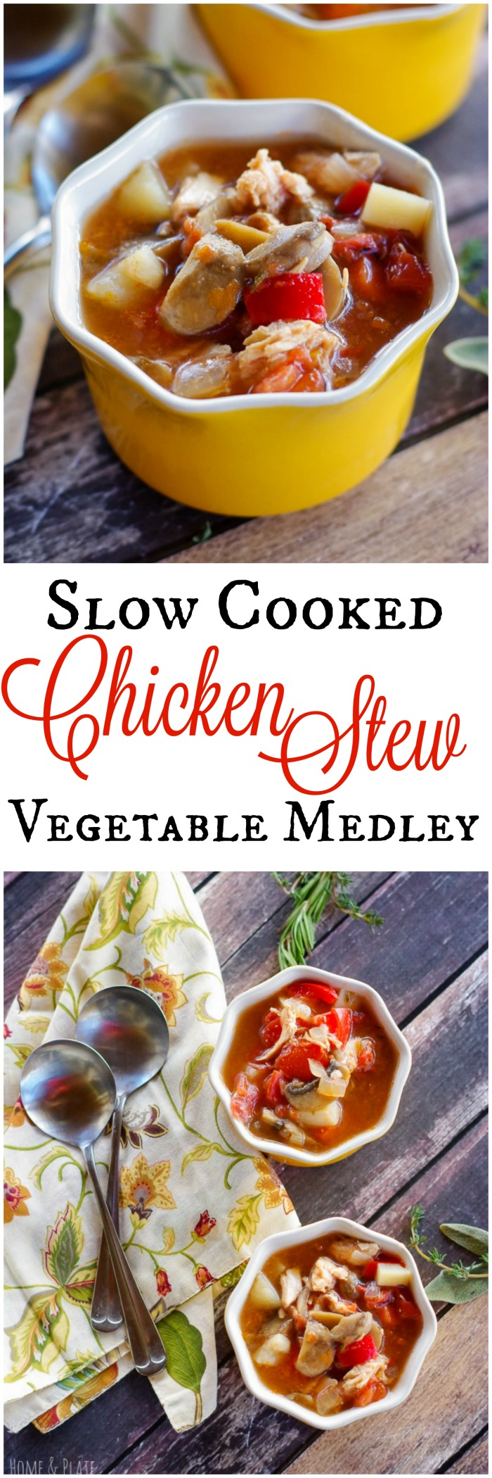 Slow Cooked Chicken Stew Vegetable Medley | www.homeandplate.com | Tender shredded chicken has been slow cooked in this one pot dish that is paired with a medley of vegetables.