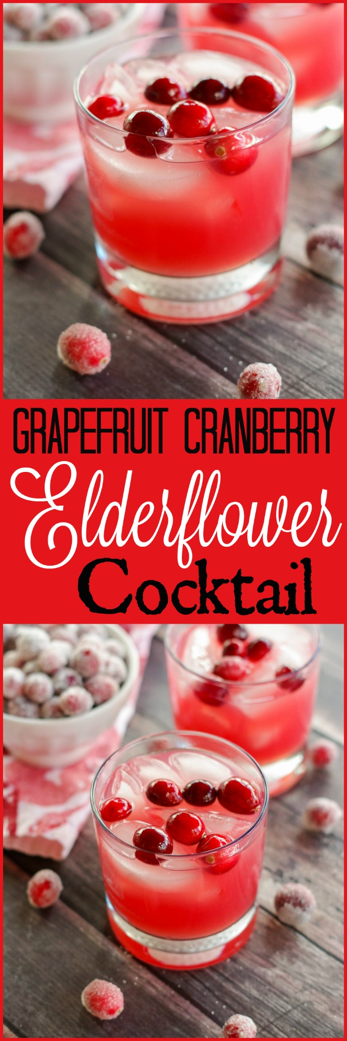 Grapefruit Cranberry Elderflower Cocktail| www.homeandplate.com | The tart flavors of grapefruit and cranberries are swirled together with sweet elderflower liqueur and vodka in this perfect winter cocktail.