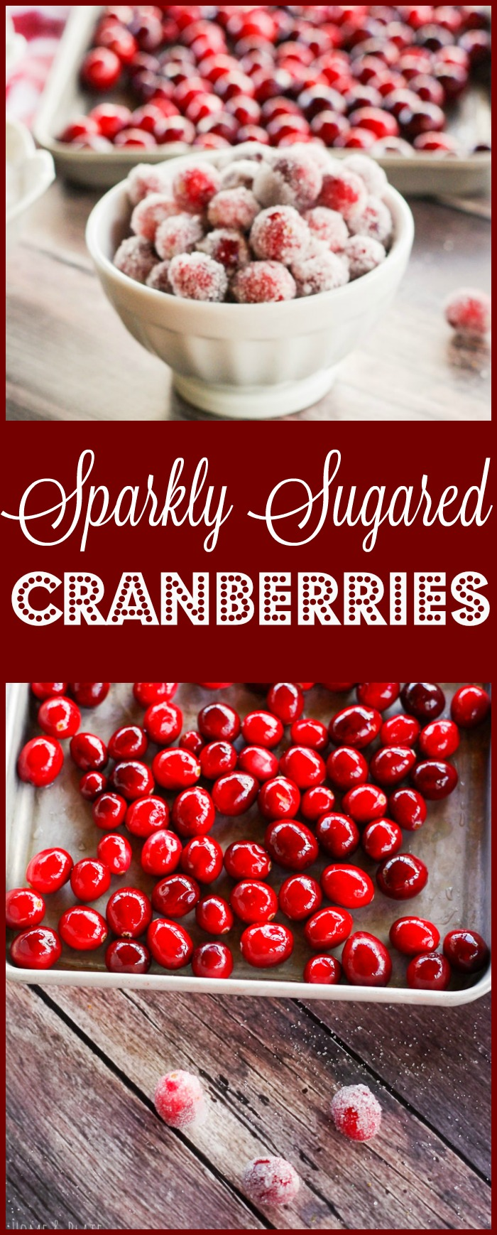 Sparkly Sugared Cranberries| www.homeandplate.com | Fresh cranberries rolled in granulated or coconut sugar make the perfect snack, cake topper or cocktail garnishment.