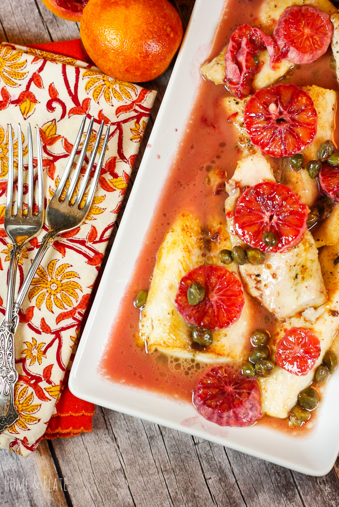 Blood Orange Cobia with Capers