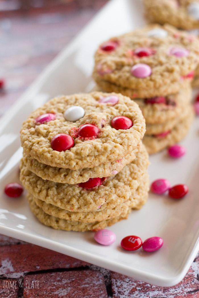Valentine M & M Oatmeal Cookies