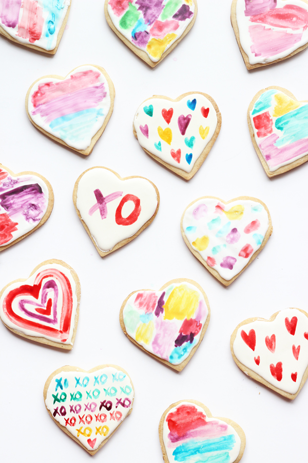 DIY Watercolour Heart Cookies