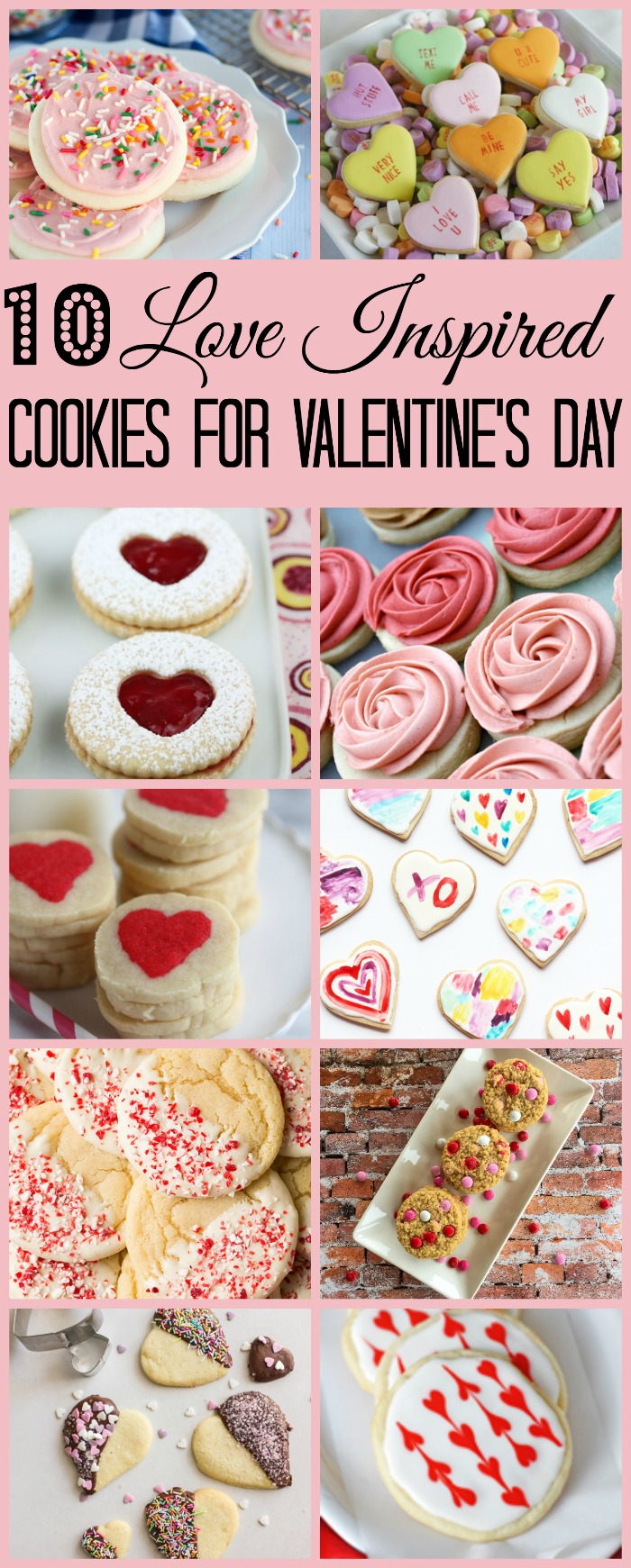 10 Love Inspired Cookies for Valentine's Day | www.homeandplate.com | Heart shaped, candy topped and frosted with holiday colors, these cookies are sure to please.