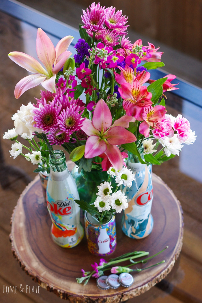 "Stunning Floral Centerpiece Featuring Diet Coke ""It's Mine"" Bottles 