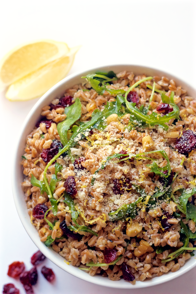 Citrus farro and arugula salad with walnuts and cranberries